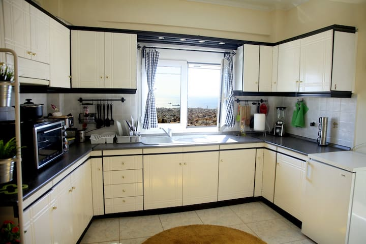 A fully equiped kitchen. Small grill-ovent, Coffee mashine, small fridge. City view window also.