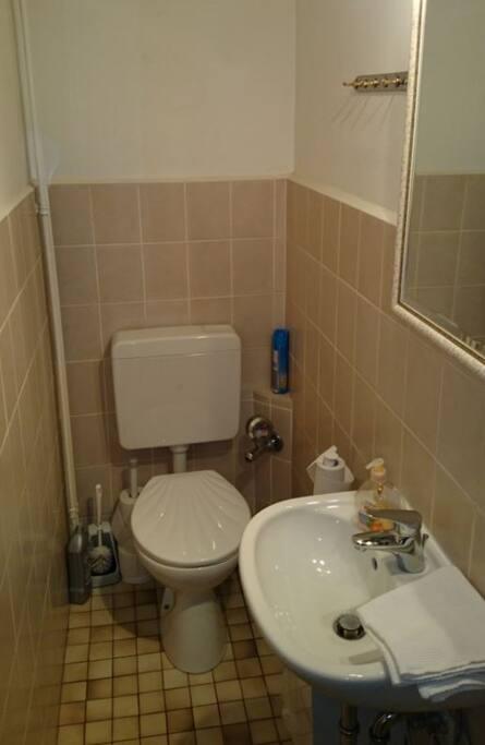 Das Bad. Nutzung mit einem anderen Doppelzimmer gemeinsam.