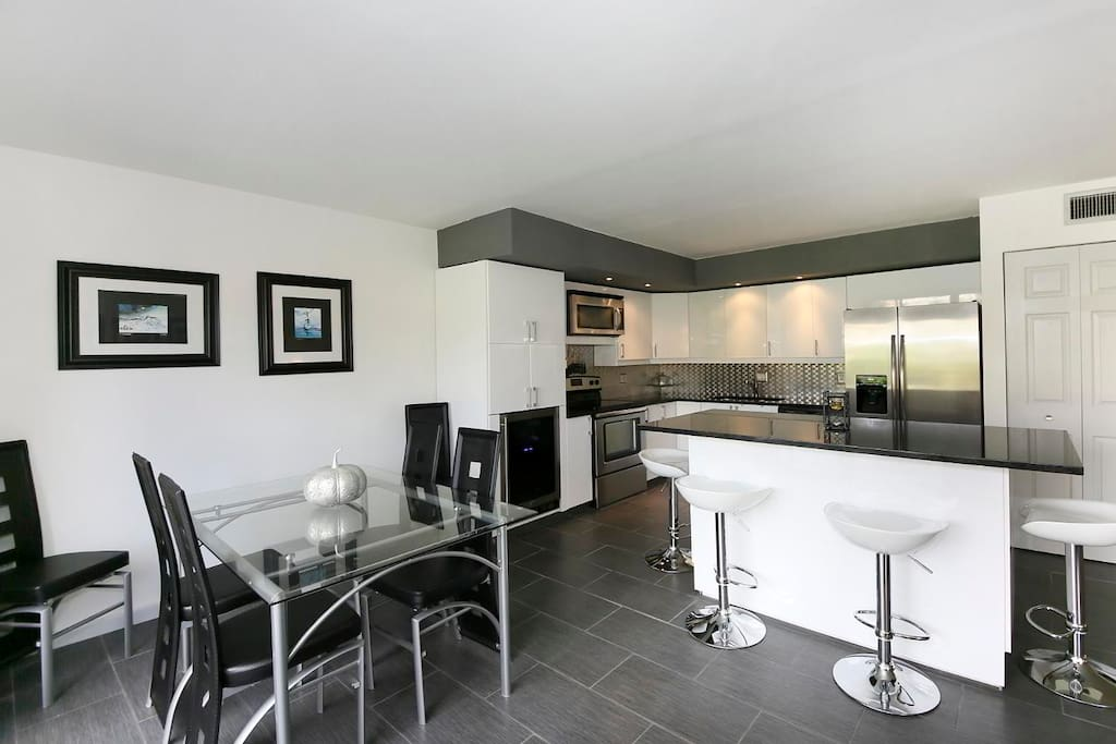 Modern kitchen with all new appliances including wine fridge!