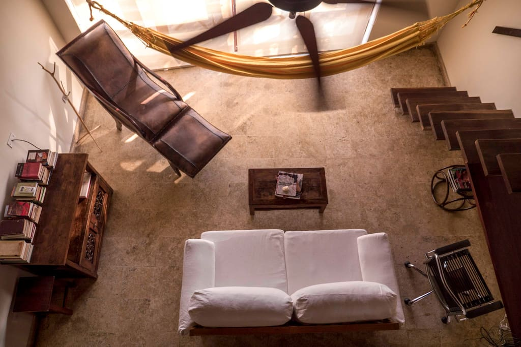 Living room, from above.