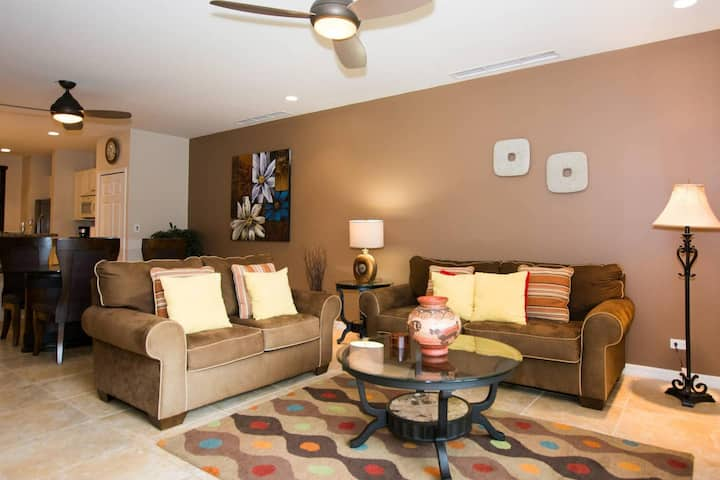 Colorfully decorated 3rd-floor unit overlooking pool at Pacifico in Coco