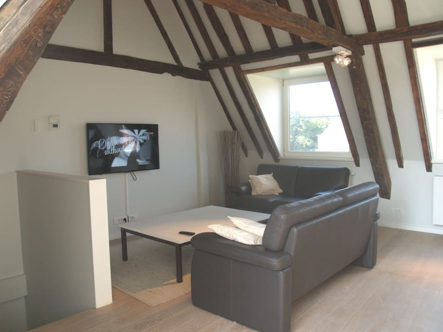 A cosy living room with Digital TV, free WIFI  ( your own private network,we have fast internet) and a marvelous view. The apartment is fitted throughout with wooden block flooring in oak. Dishwasher, laundry room,... it's all there.