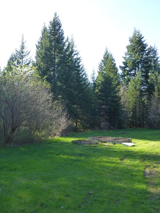 Adjacent to the Cliffdwellers campsite is a lush meadow with a few raised garden beds.