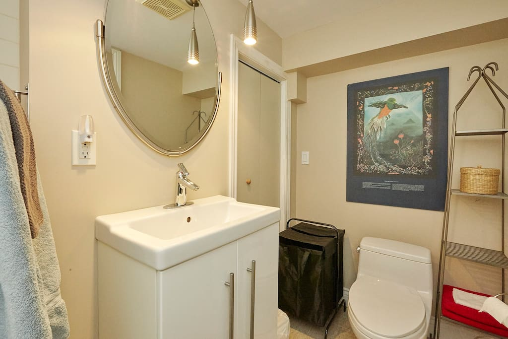 Your private bathroom (the bathtub is not shown)