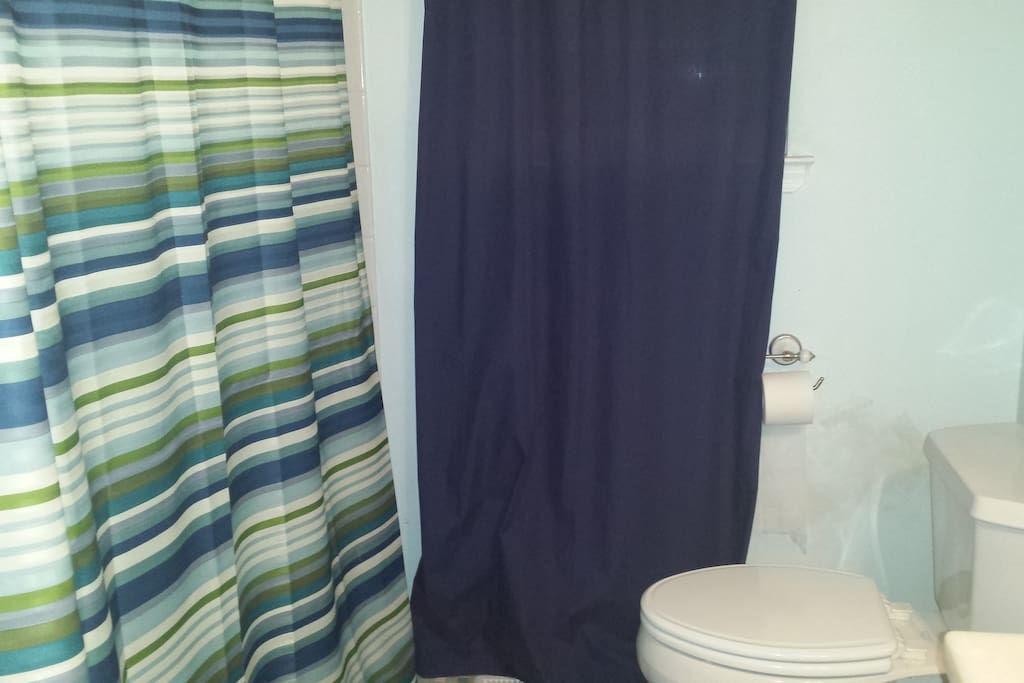 Spacious bathroom, includes toiletries for your convenience.