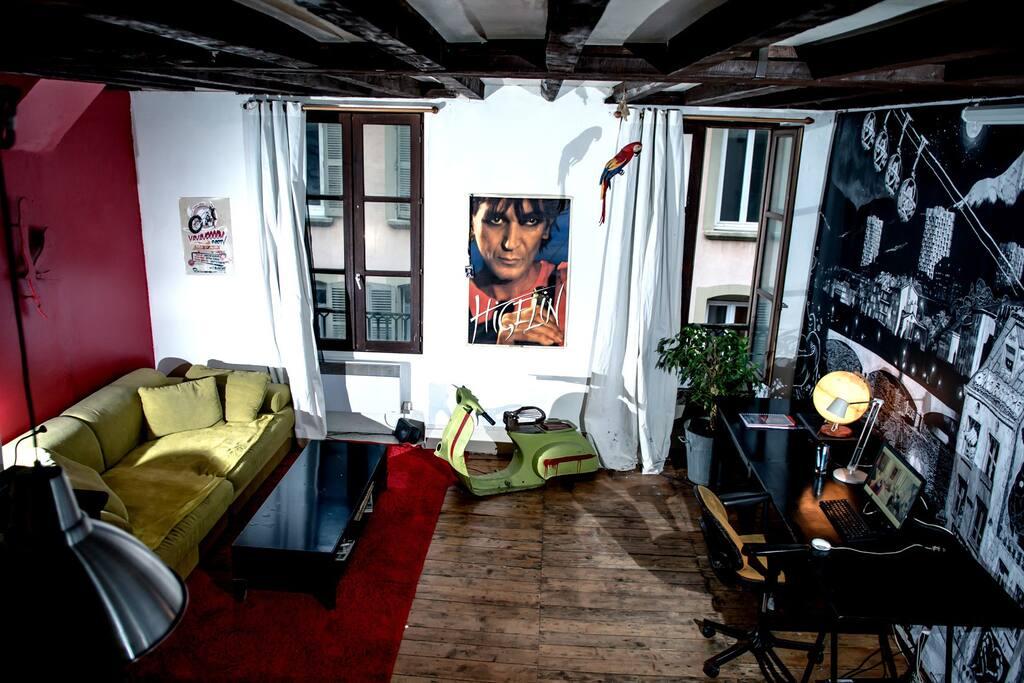 beau loft atypique sur les quais loft in affitto a grenoble rodano alpi francia. Black Bedroom Furniture Sets. Home Design Ideas