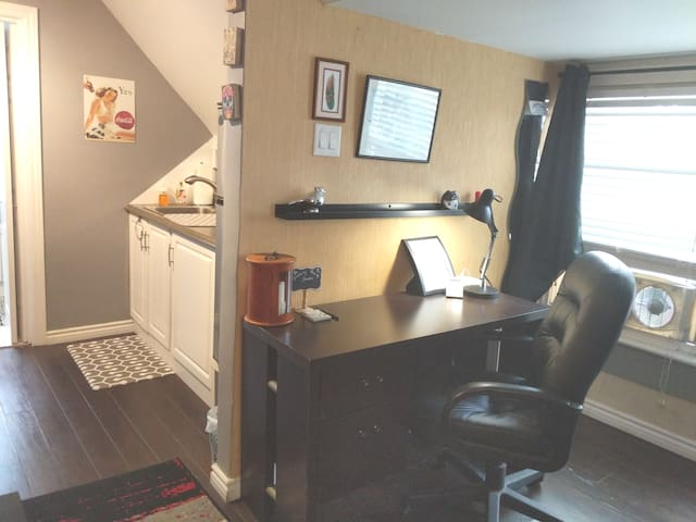 Nice chair and desk, if you must work.