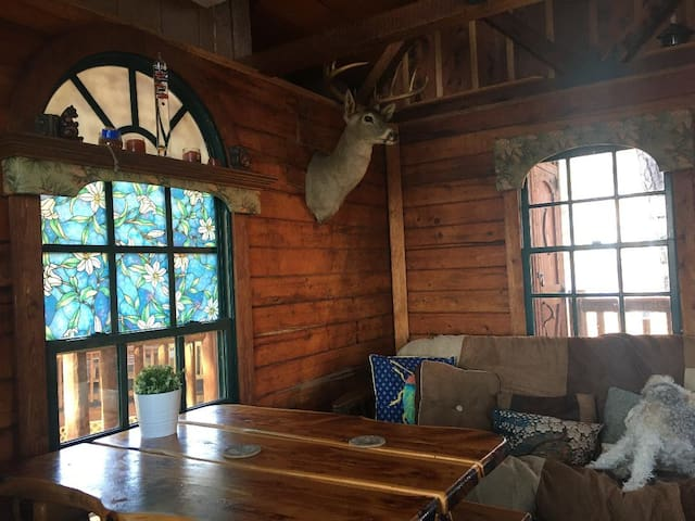 Main cabin dining table and queen futon couch bed