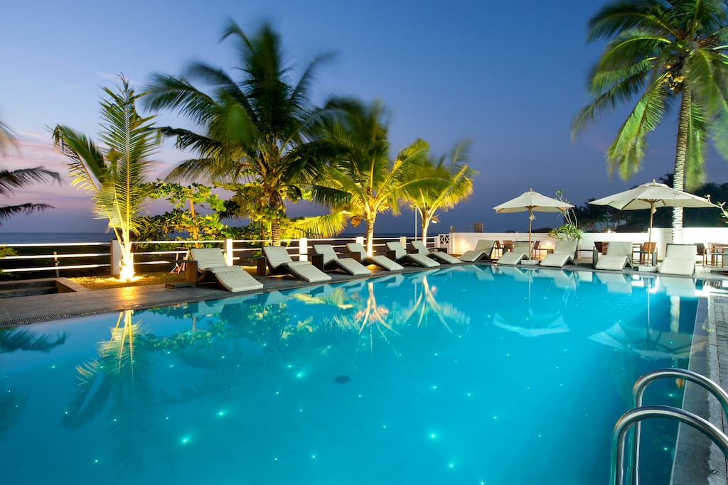Starlit pool by the beach