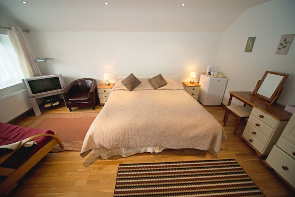 This is our ground floor room suitable for those who with extra accessibility needs ,with a young child or those that simply likes a large room. Can be a twin, -room is en suite with walk in shower. Other rooms available please ask when booking which room