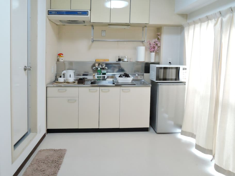 Kitchen equipment can be used by guests at any time.