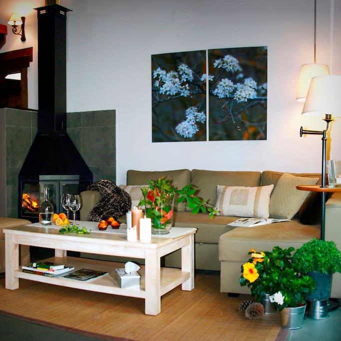 La chimenea calentita en un espacio acogedor