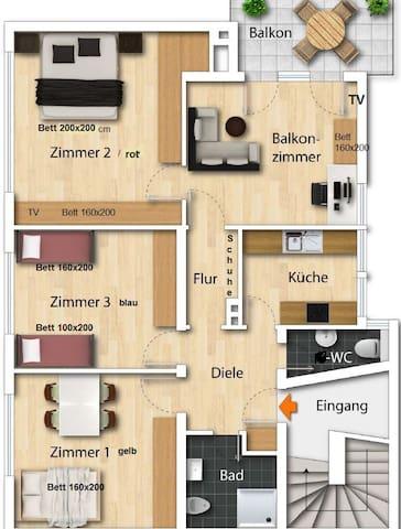 85 qm im 1. Stock-- Grundriss Zimmer Nr. 1  gelb, Nr. 2 rot, Nr. 3 blau, Balkonzimmer, Flur, 1 Bad, Küche, WC