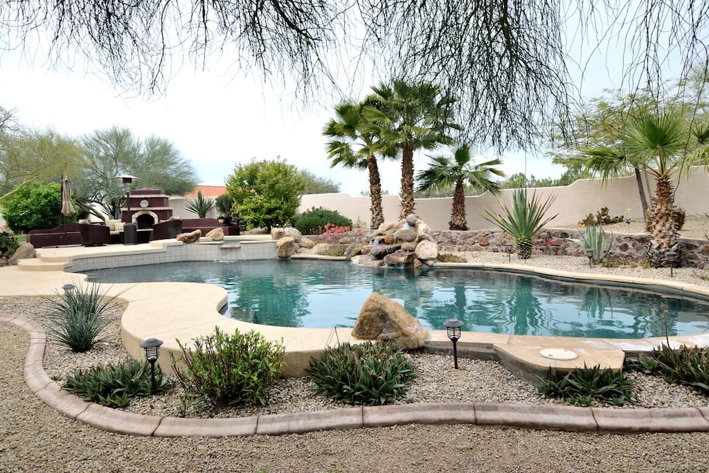 The pool area / fireplace area is surrounded by Kool Deck, which does NOT get hot in the sun