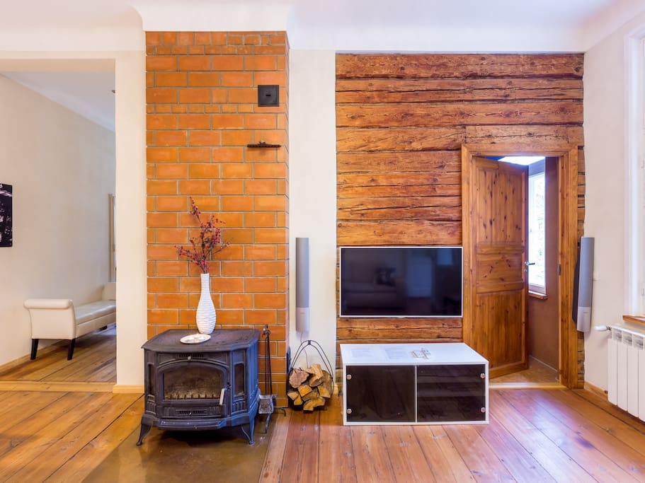 Natural wood floors and wall