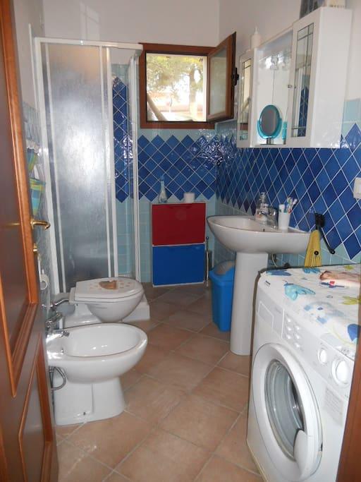 Il bagno, con doccia e la lavatrice.E' presente un phon e su richiesta la biancheria.