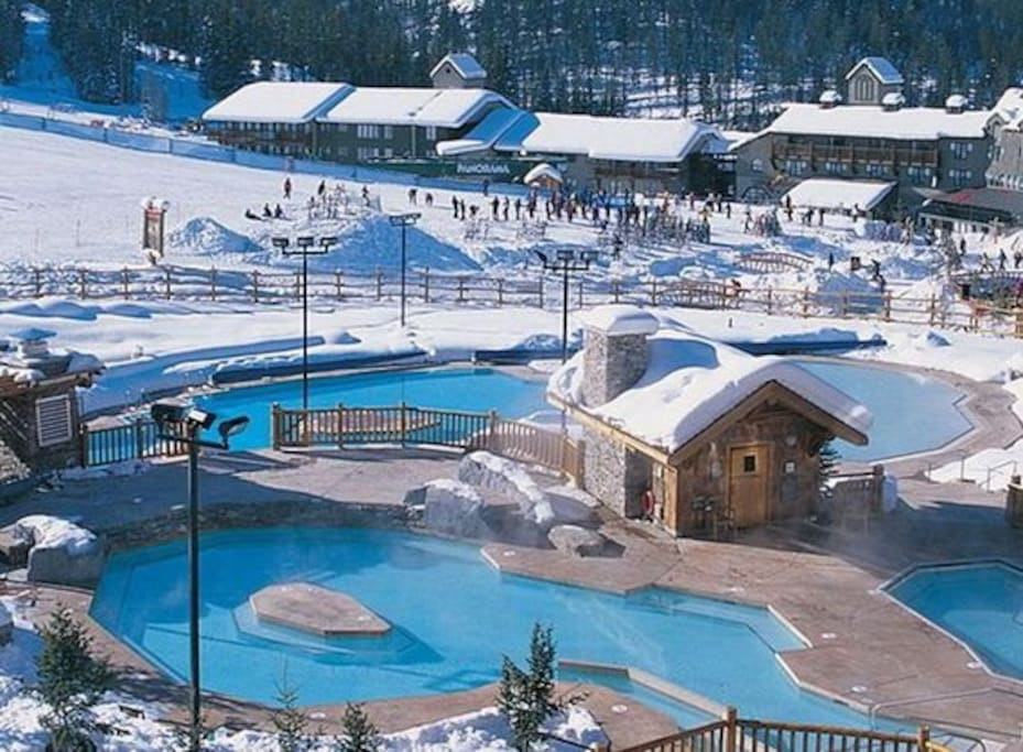 Canada's largest slopeside hot pools . 25 meters from our condo,  perfect.