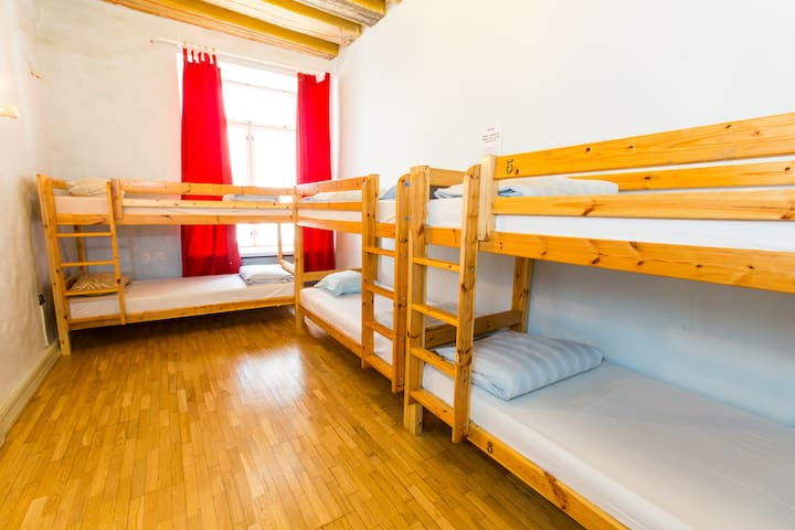 6 bed room at the Old Town Hostel