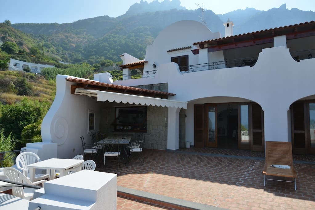 The villa frontview from the terrace