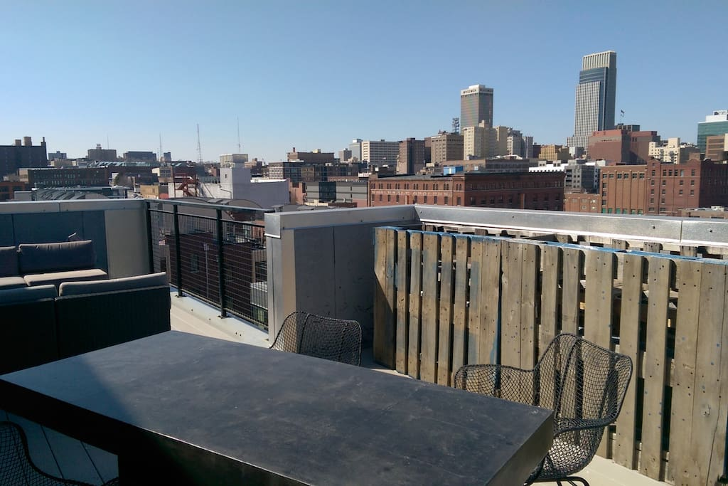 Rooftop Dining with gas grill, herb & vegetable garden.