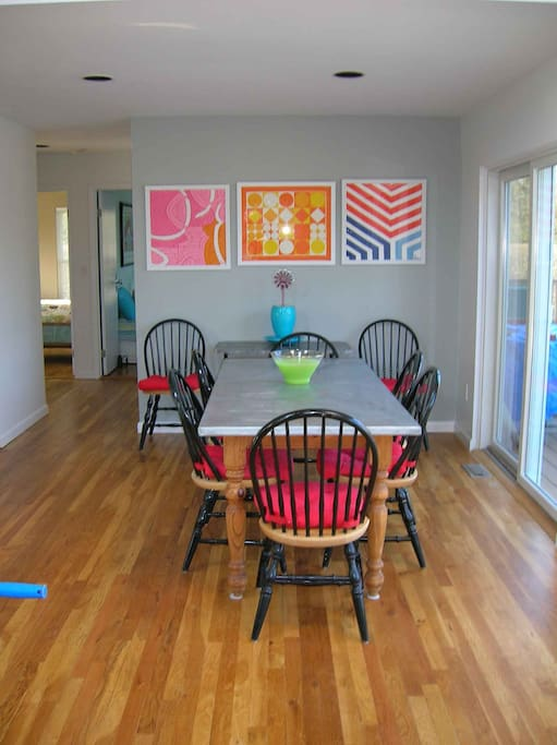 dining next to sliding doors...steps to the deck