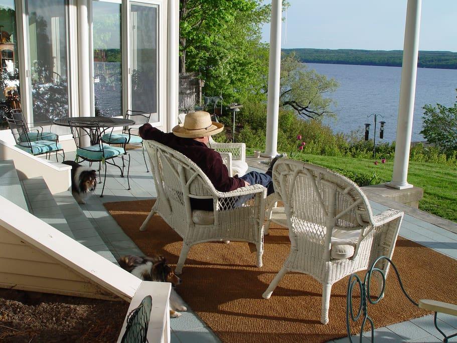 Generous lakeside veranda; sun filled and relaxing