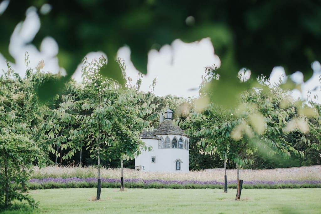 The Summerhouse through the cherry tree avenue