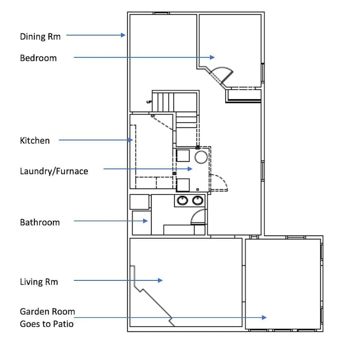 Apartment Layout, coming in through the Garden Room.