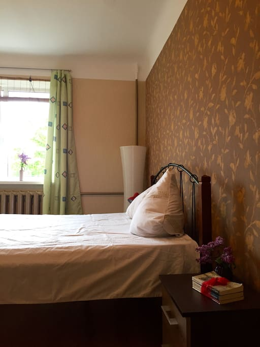 double bed in a separate bedroom