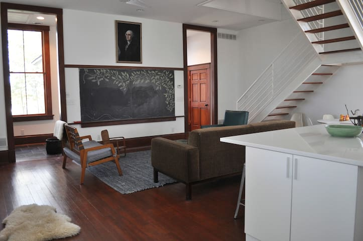 Light filled main room with original chalkboards.