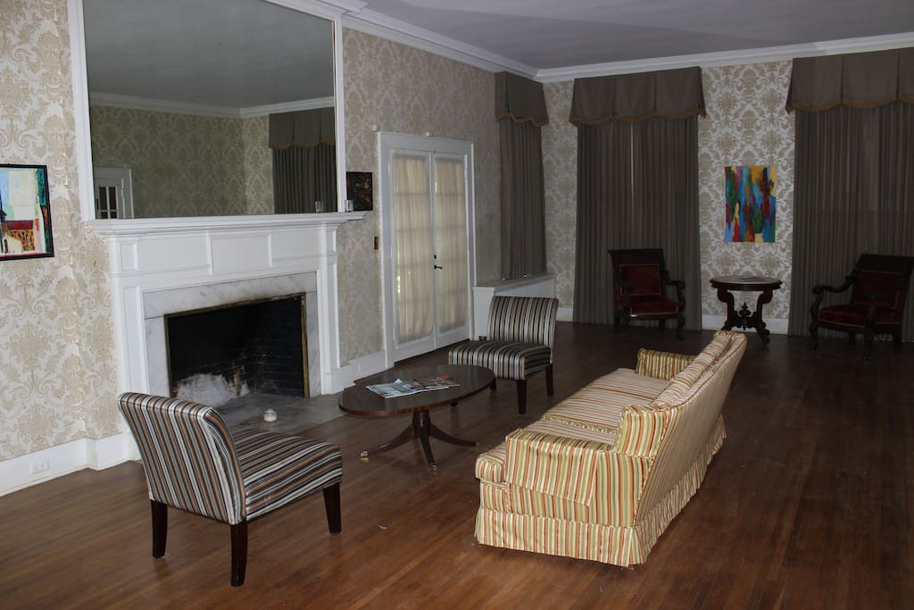 Guests have access to the common areas such as the living room with a working fireplace.