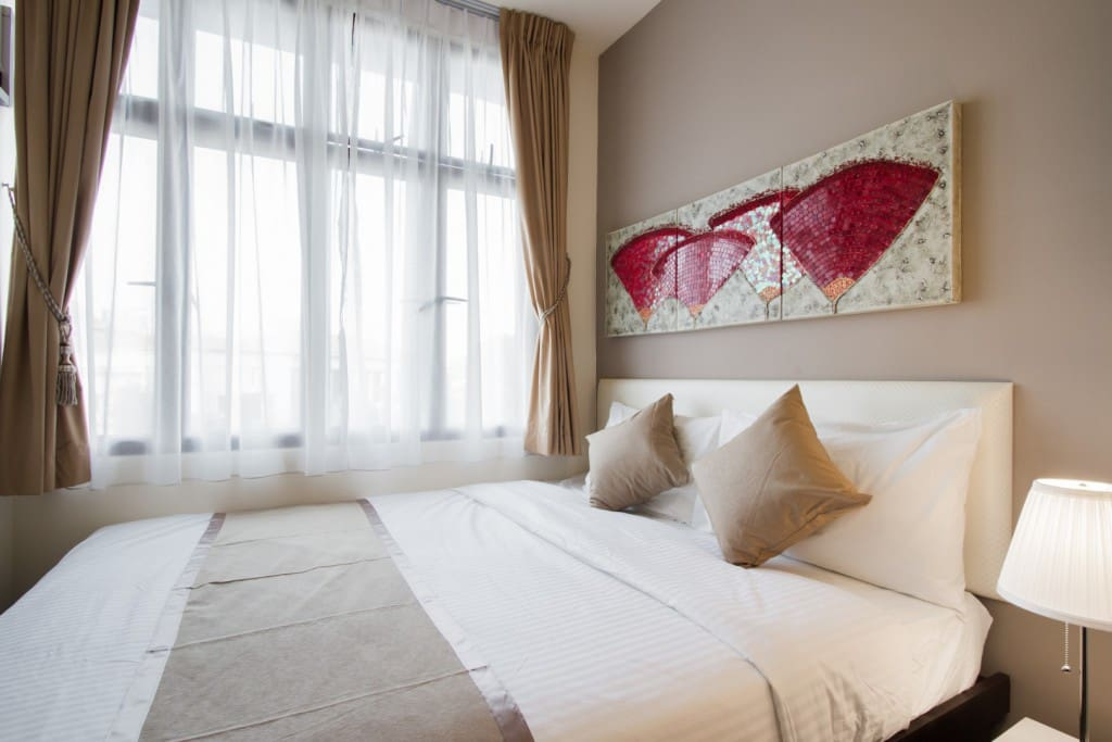 Double Bed with Plush Linens