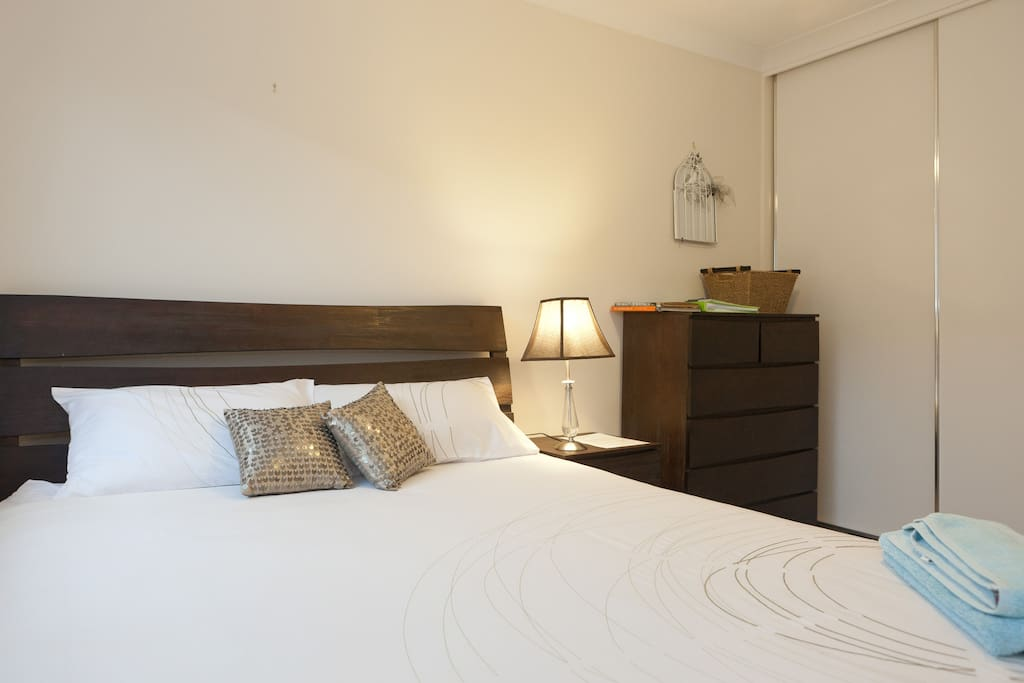 Large spacious rooms. One with an equipped TV, if wanting more privacy and relaxation in the bedroom
