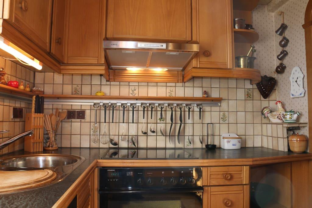 Voll eingerichtete Küche mit E-Herd und Geschirrspühler