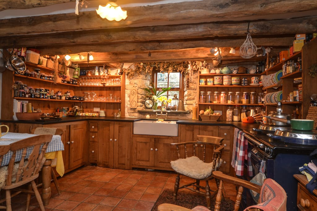 always warm and welcoming in the Old Mill kitchen, pull up a chair by the aga and enjoy a cuppa