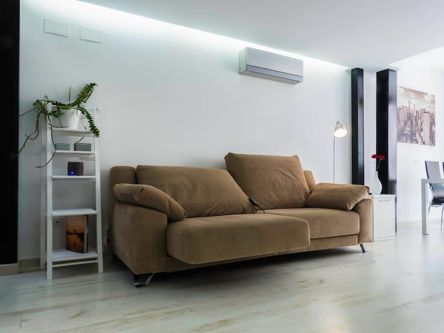 Sofá relax electrónico, aire acondicionado silencio, lámpara de lectura,