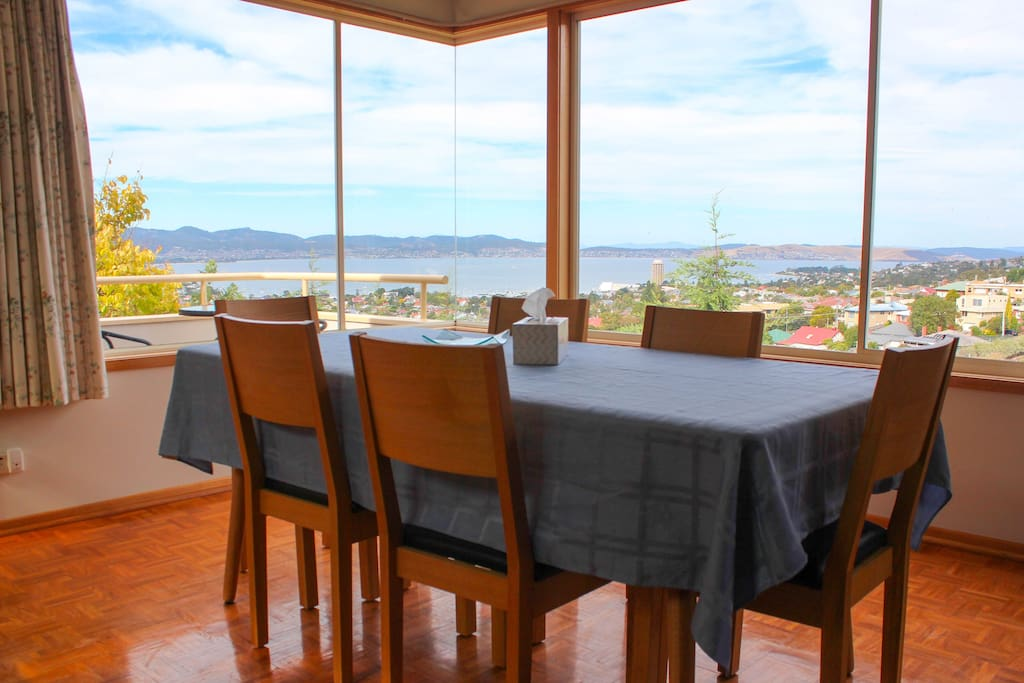 Enjoy the beautiful view from the dining table or the outside balcony.