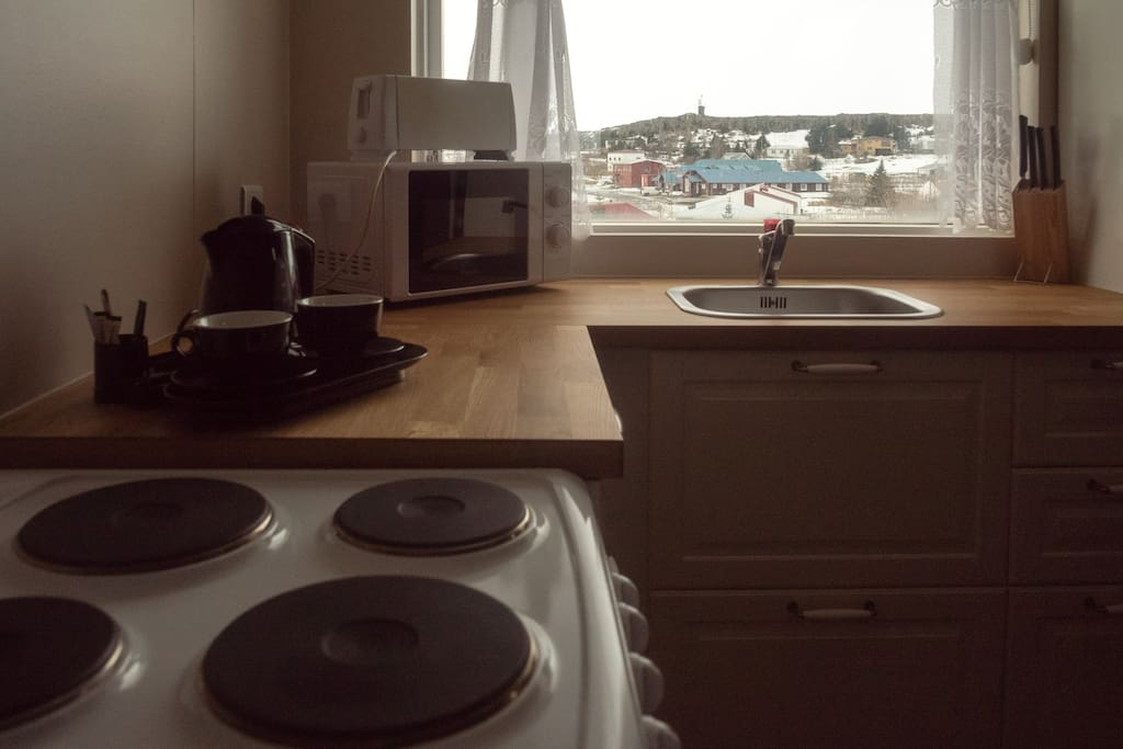 Well equipped kitchen with a great view from the window