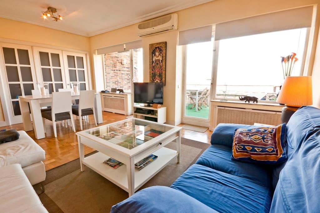 Salón de 30 metros cuadrados con dos sofás y comedor completo