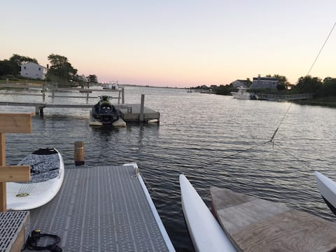 Southampton waterfront home w/ dock, walk to Golf