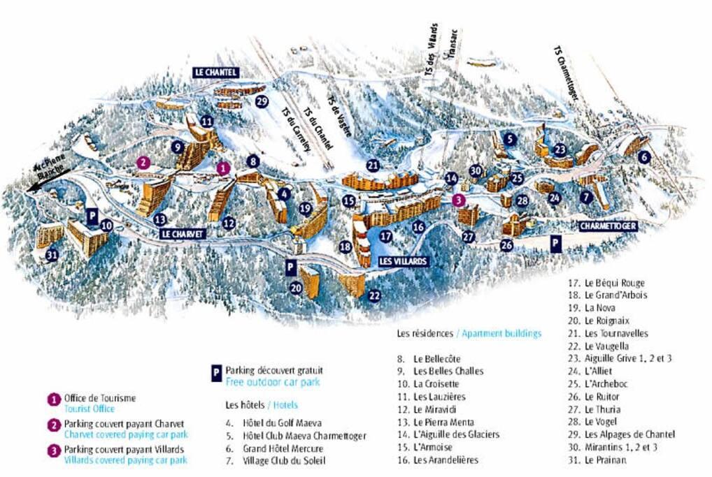 Ce plan localise tous les immeubles de la station Arcs 1800. Notre immeuble s'appelle LE THURIA et se trouve au n°27.