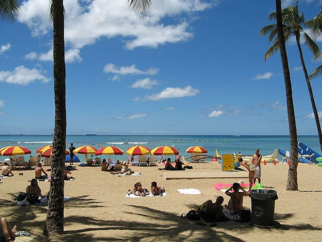 2 minutes from the Beach Large 1BR Sleep 6 海に近いお部屋