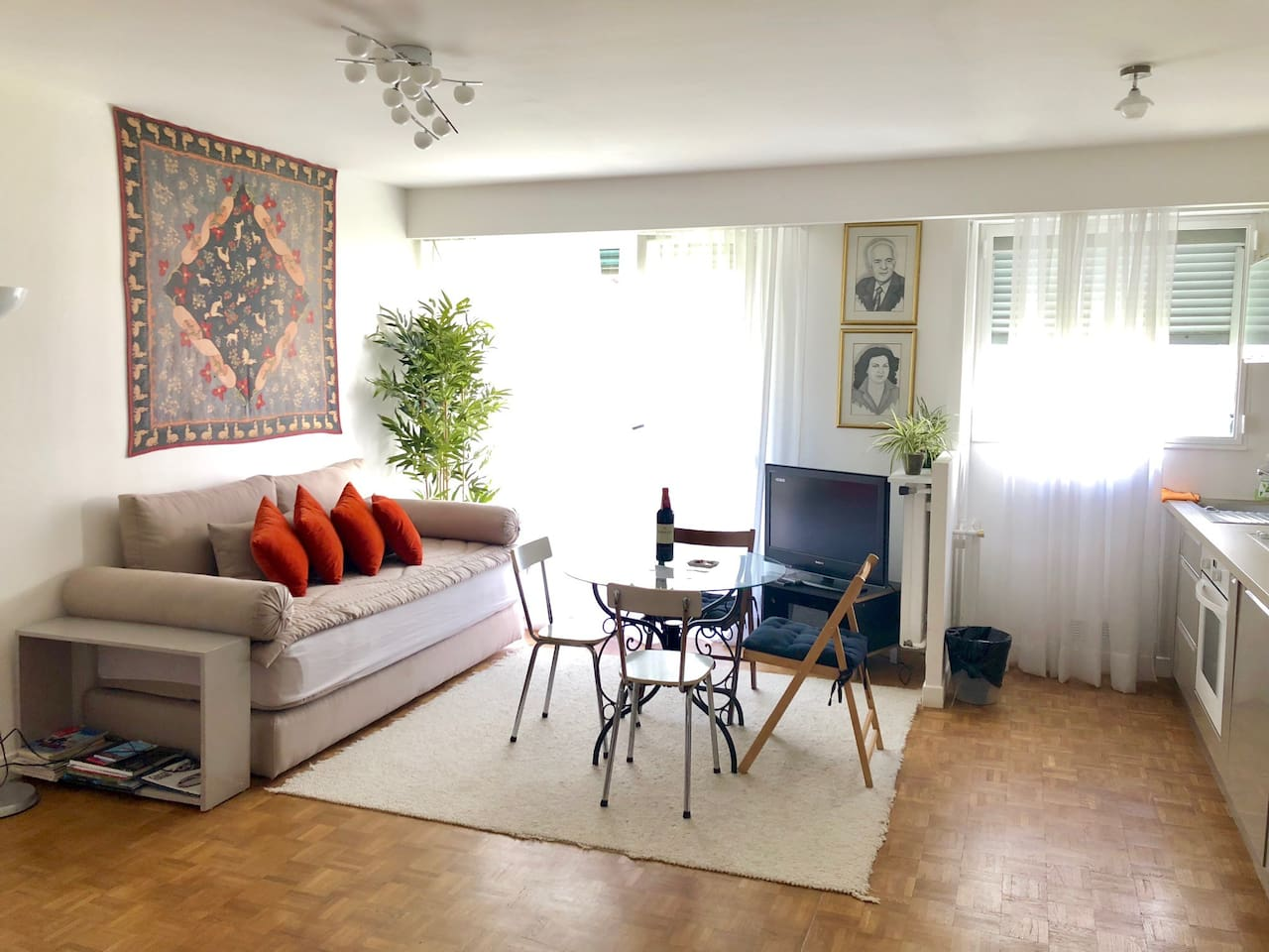 Bright and calm living room with sofa bed (real mattress)