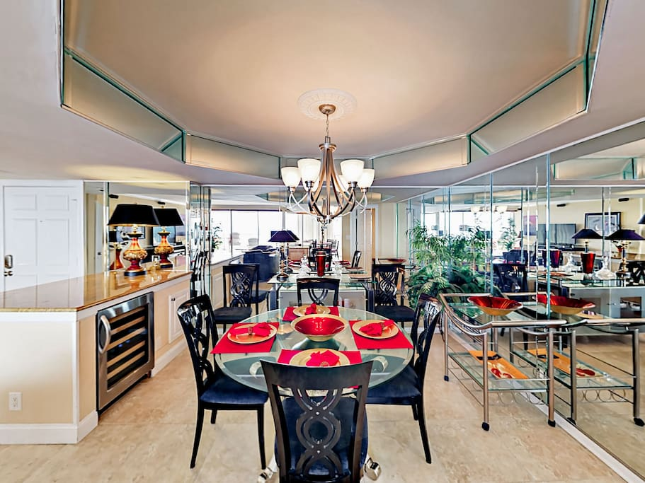 Gather for festive meals in the elegant dining space with seating for 4.
