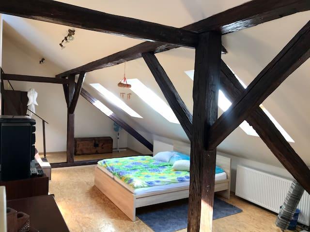 Samostatné podkroví v luxusním mezonetovém bytě.