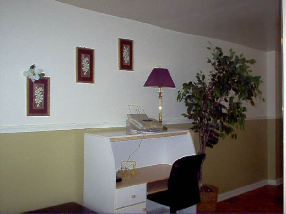 Desk in the living room.