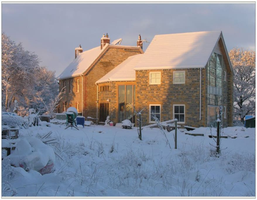 House in the snow - our first winter in the new extension