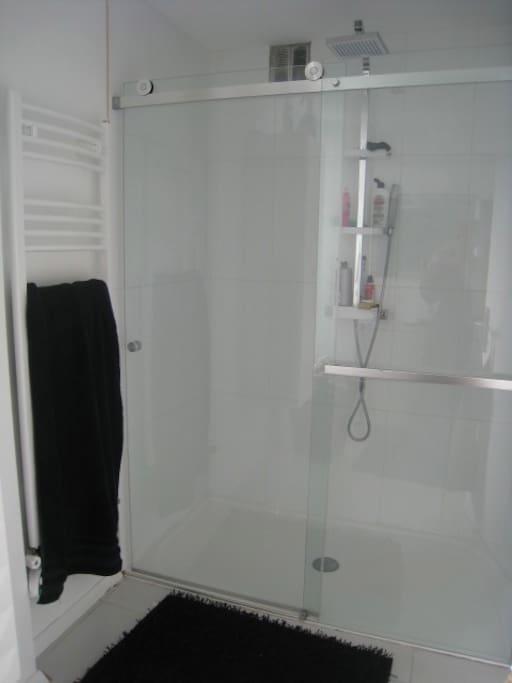 SDB avec vaste douche à l'italienne, une vasque avec fenêtre donnant sur jardin sud