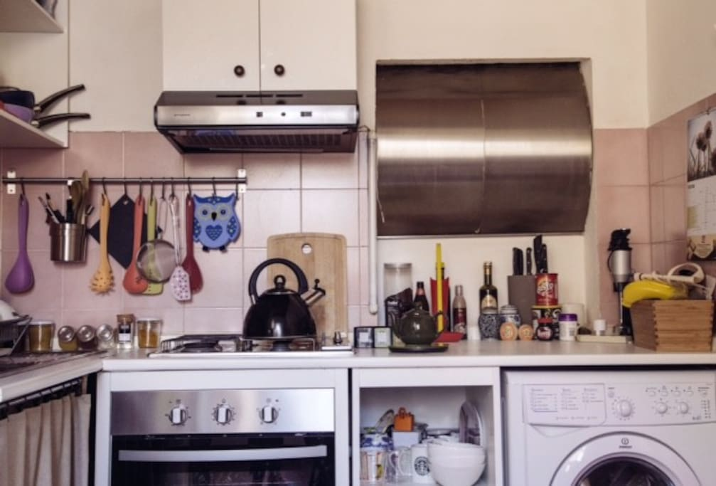 Kitchen equipped with Dishwasher, Washing machine and dryer, cutlery, pots and pans, and even a whistling kettle!