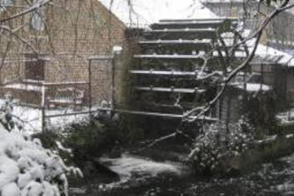 The Mill Wheel on the River Wandle outside the front door.